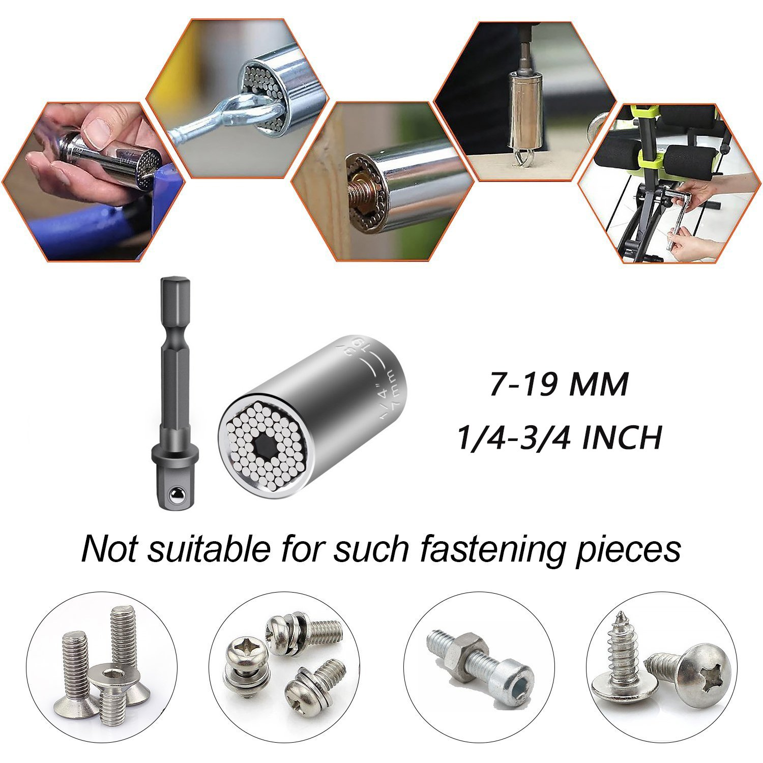 Elivern Universal Socket Set 7-19mm(1/4-3/4 inch),Universal Socket Wrench Adapter Fool Sleeve Piece,Professional Repair Tools(Silver)