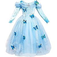 Le SSara Abito blu fantasia farfalla lunga manica ragazza principessa Cosplay Costume