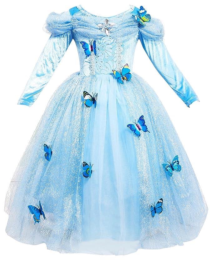 Le SSara Traje de Cosplay de princesa de niña de manga larga vestido de mariposa fantasia azul: Amazon.es: Ropa y accesorios