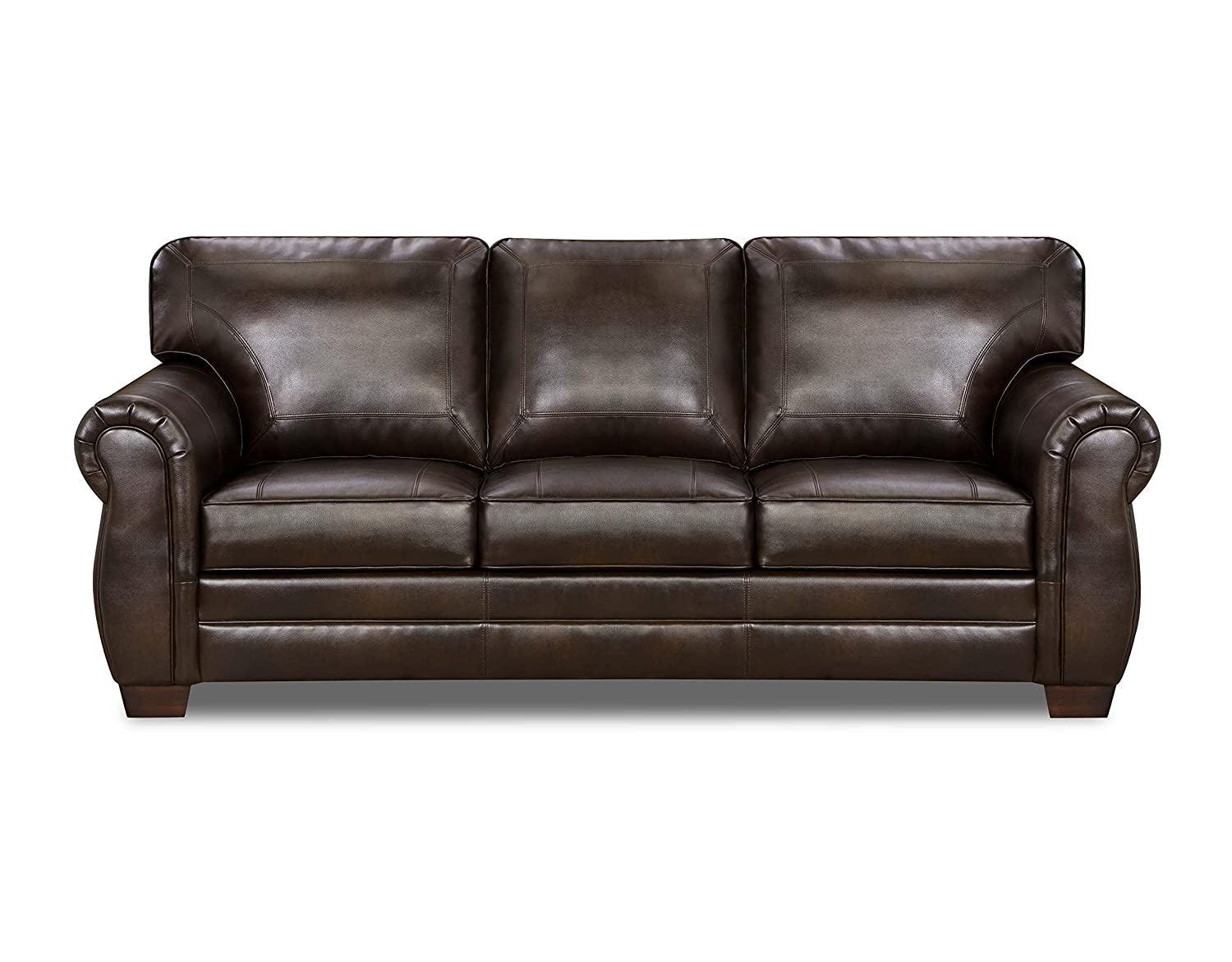 - Simmons Upholstery 8369-D Panama Espresso Bonded Leather Sofa
