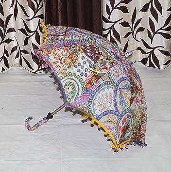 Tie Dye paraguas hecho a mano indio algodón sol paraguas Vintage verano sombrilla paraguas 34 x