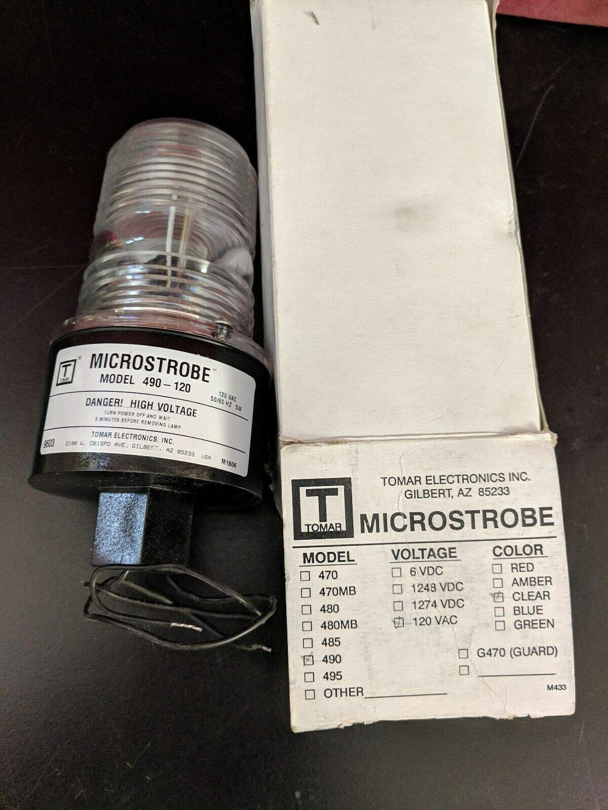 Tomar Electronics Microstrobe 490-120 Strobe Light Safety Beacon Clear Lens 120V