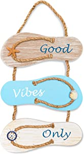 Juvale Wooden Hanging Wall Sign Beach Decor, Good Vibes Only (9 x 16 Inches)