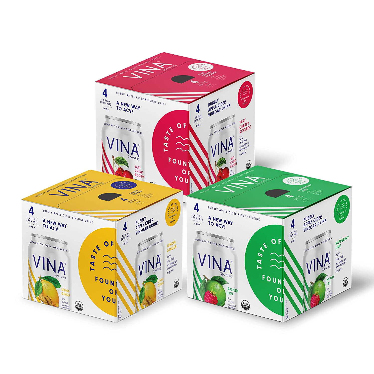 VINA Sparkling Apple Cider Vinegar Drink | Beachy Keen Variety Pack Made With Certified Organic Apple Cider Vinegar, Real Fruit, Sparkling Water, No Artificial Sweeteners | 12 Fluid Ounce Cans