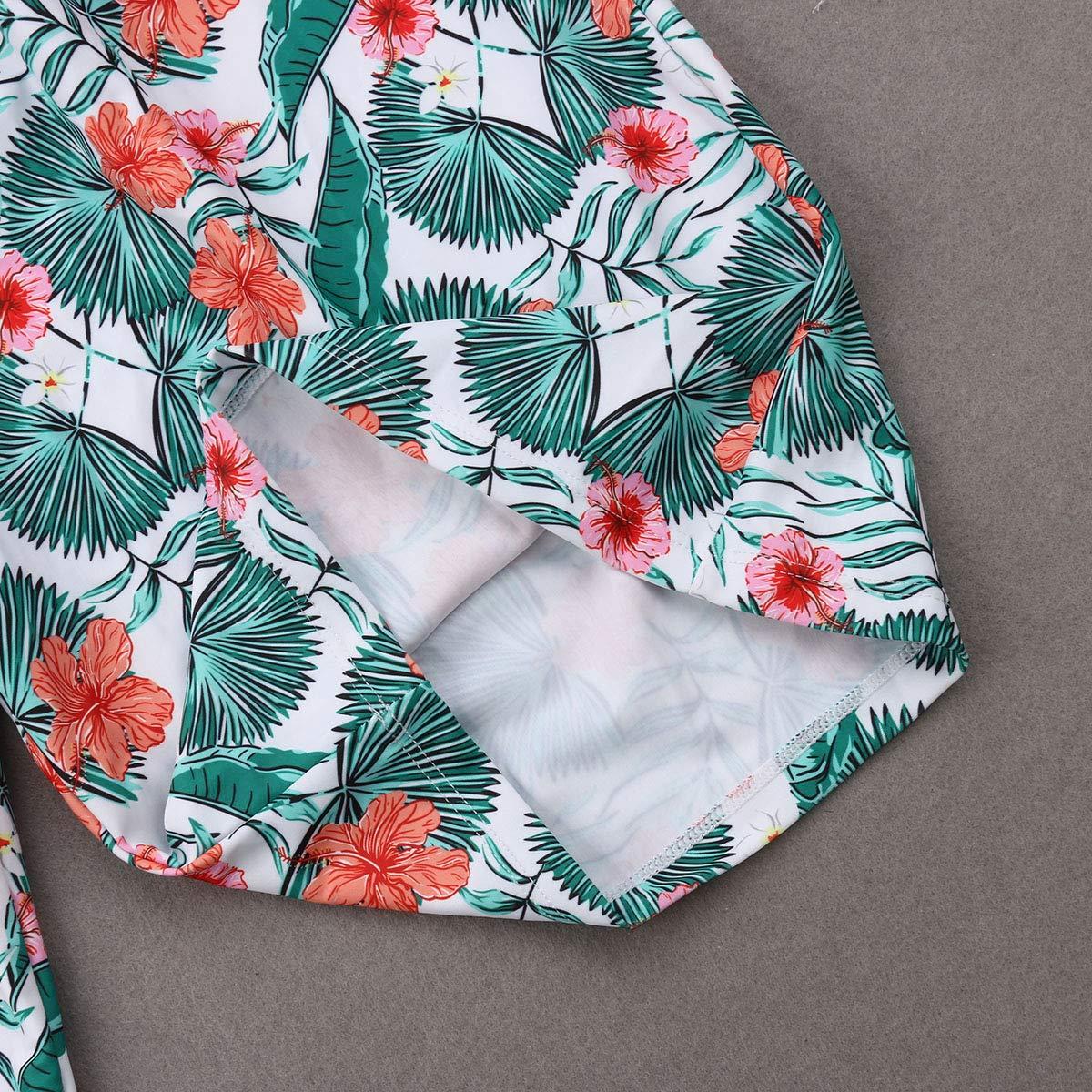 Family Matching Bathing Suit One Piece Floral Print Halter Monokini Women Baby Girls Swimsuit Swim Trunks for Men Boys