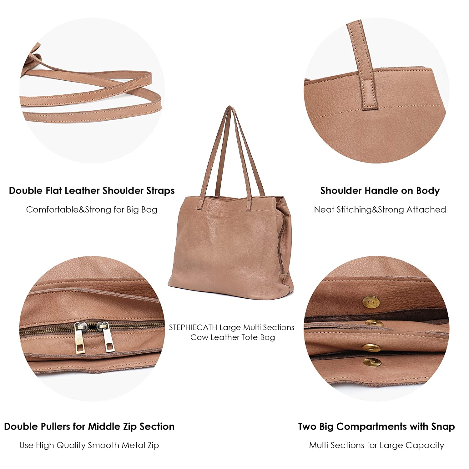 fc8a90005188 Amazon.com  STEPHIECATH Women Tote-handbags Italian Cow Leather Women s  Vintage Style Soft Leather Work Tote Shoulder Bag Large Capacity Multi  Sections ...