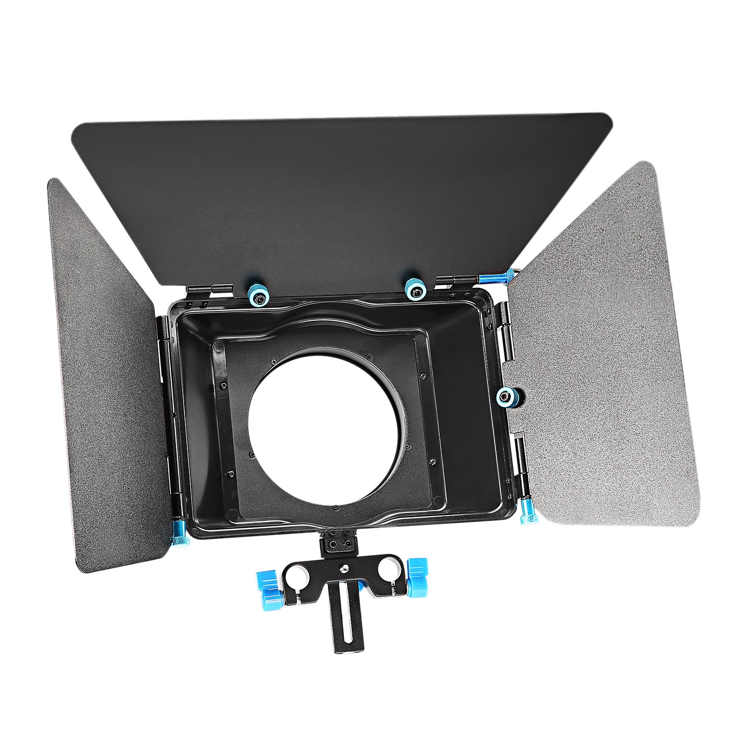Neewer® Aluminum Alloy Matte Box with Donut Ring, Fit 15mm Rail Rod Rig, for Nikon Canon Sony Fujifilm Olympus DSLR Camera Camcorder DV/HDV/Broadcast Video Movie Film Making System