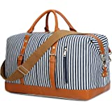 Weekend Travel Bag Ladies Women Duffle Tote Bags PU Leather Trim Canvas Overnight Bag Luggage