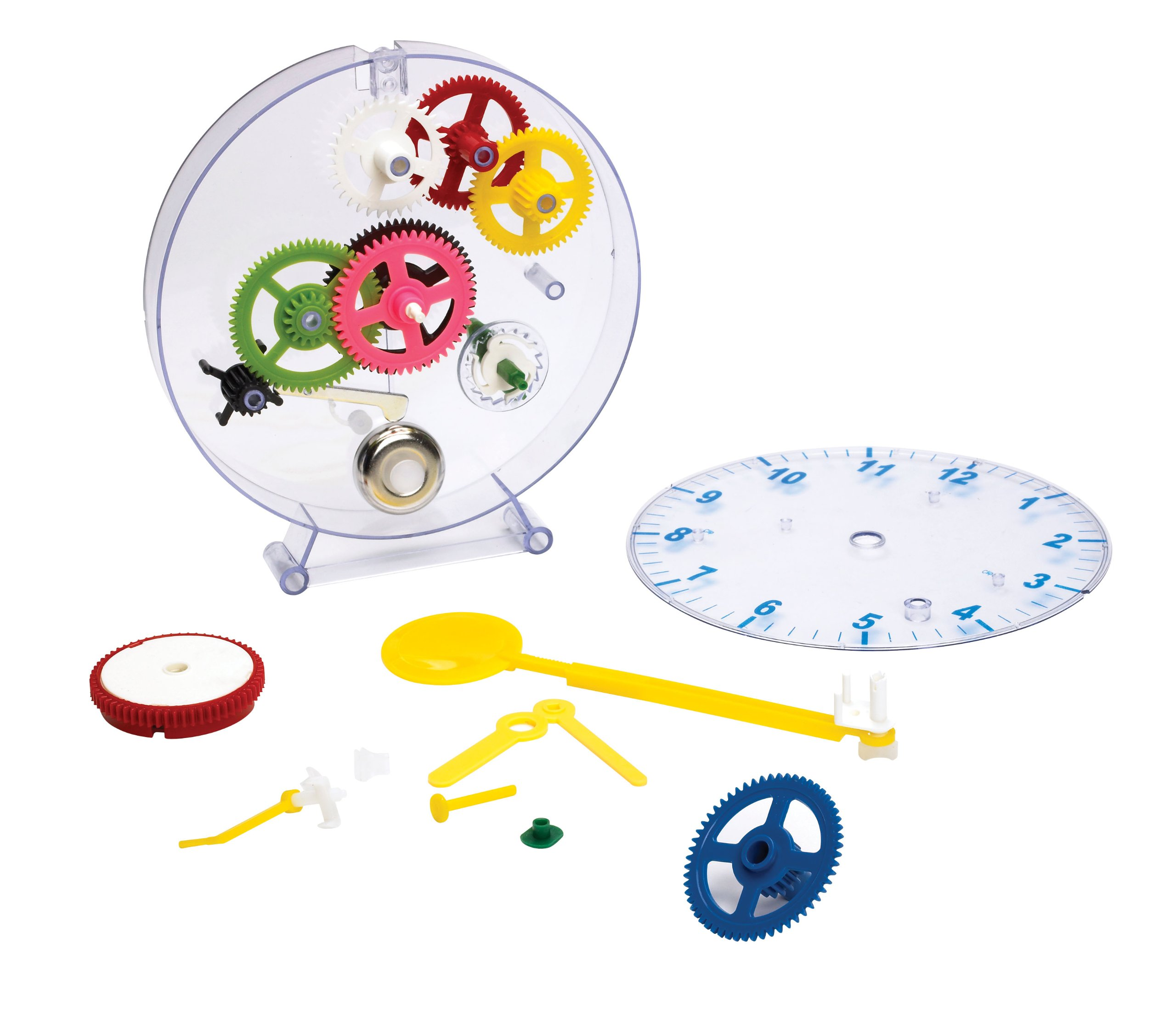 Happy Puzzle Company The Amazing Clock Kit - Construct your own colorful real working clock. Educational toy that teaches how clocks work, and doubles as an actual wind-up clock.