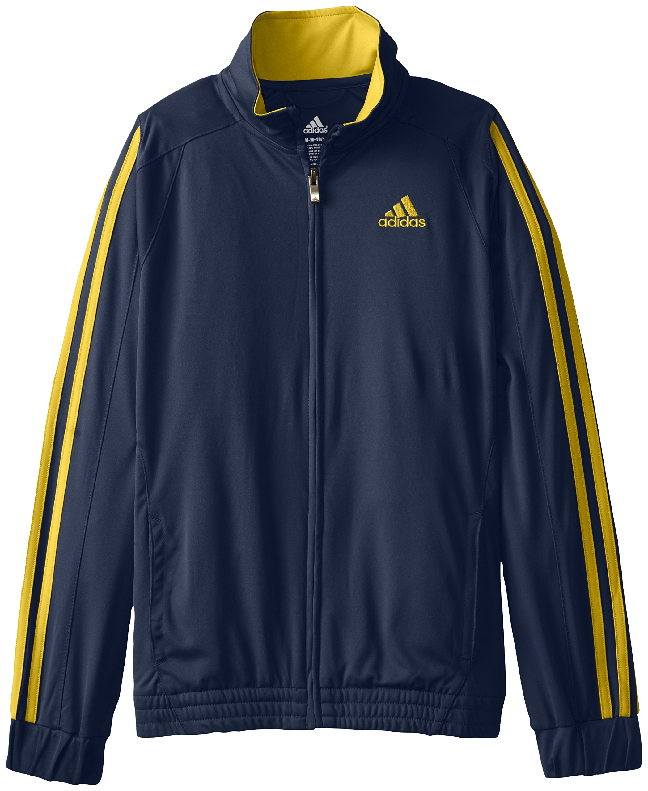 adidas Boys' Big Loose Core F Z Jacket, Navy/Yellow, Large by adidas
