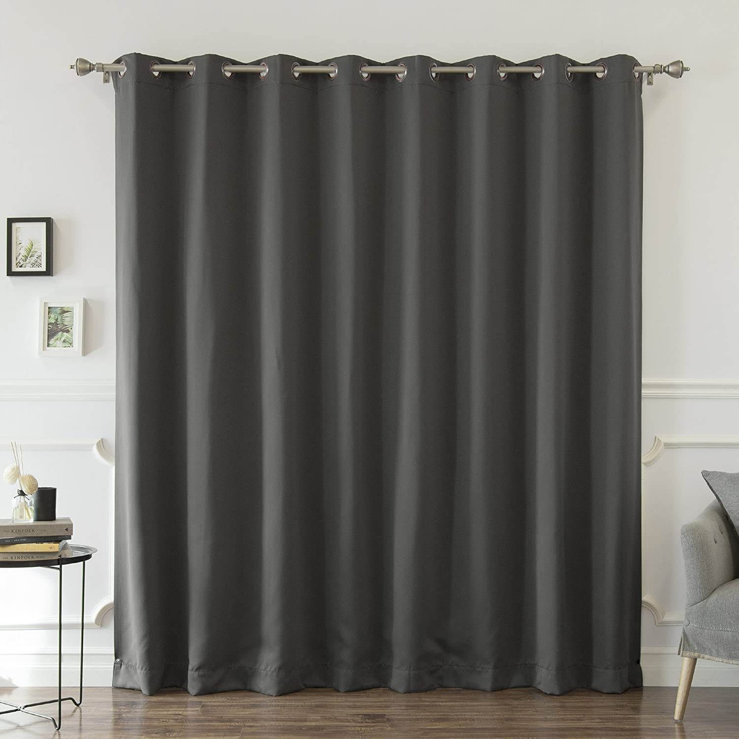 Best Home Fashion Wide Width Thermal Insulated Blackout Curtain - Antique Bronze Grommet Top - Dark Grey - 100