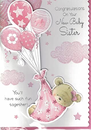 New baby girl card congratulations on the birth of your sister new baby girl card congratulations on the birth of your sister new baby sister m4hsunfo