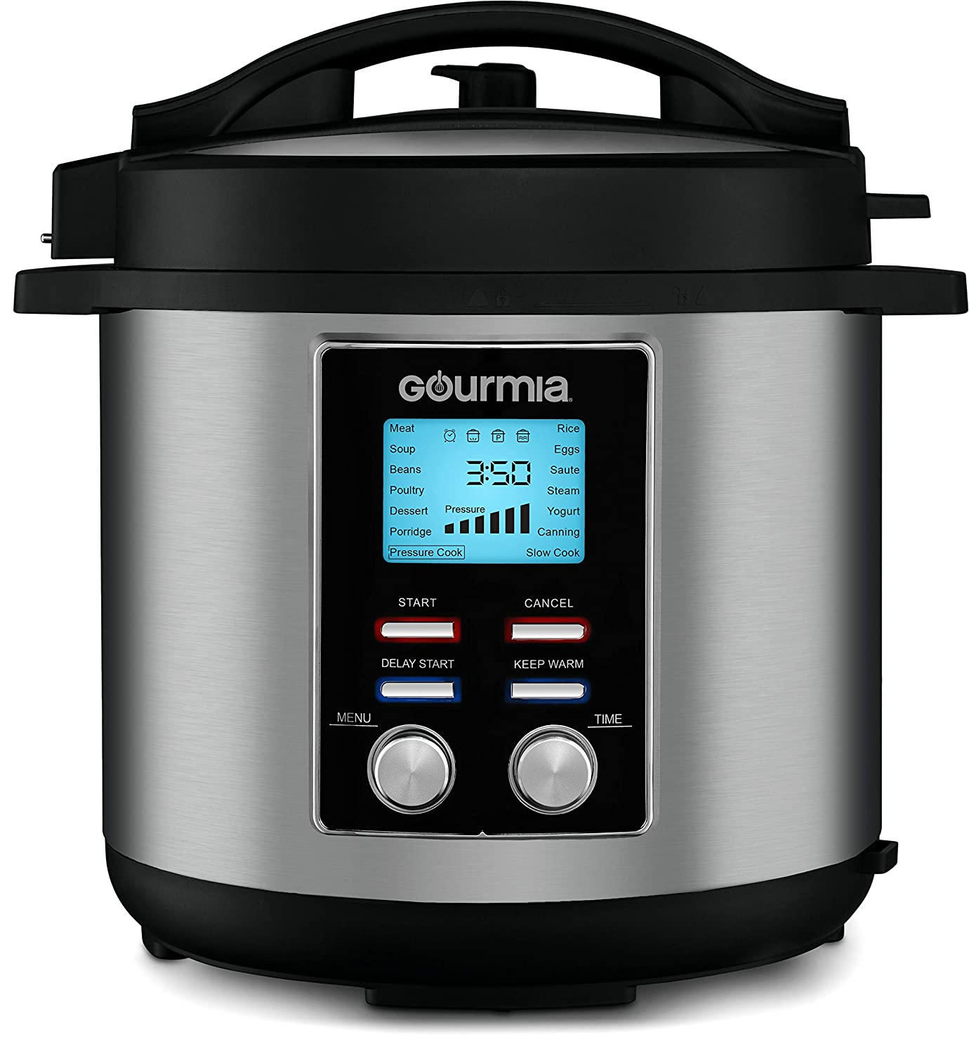Gourmia GPC855 8 Qt Digital SmartPot Multi-Function Pressure Cooker | 15 Cook Modes | Removable Nonstick Pot | 24-Hour Delay Timer | Automatic Keep Warm | LCD Display | Pressure Sensor Lid Lock