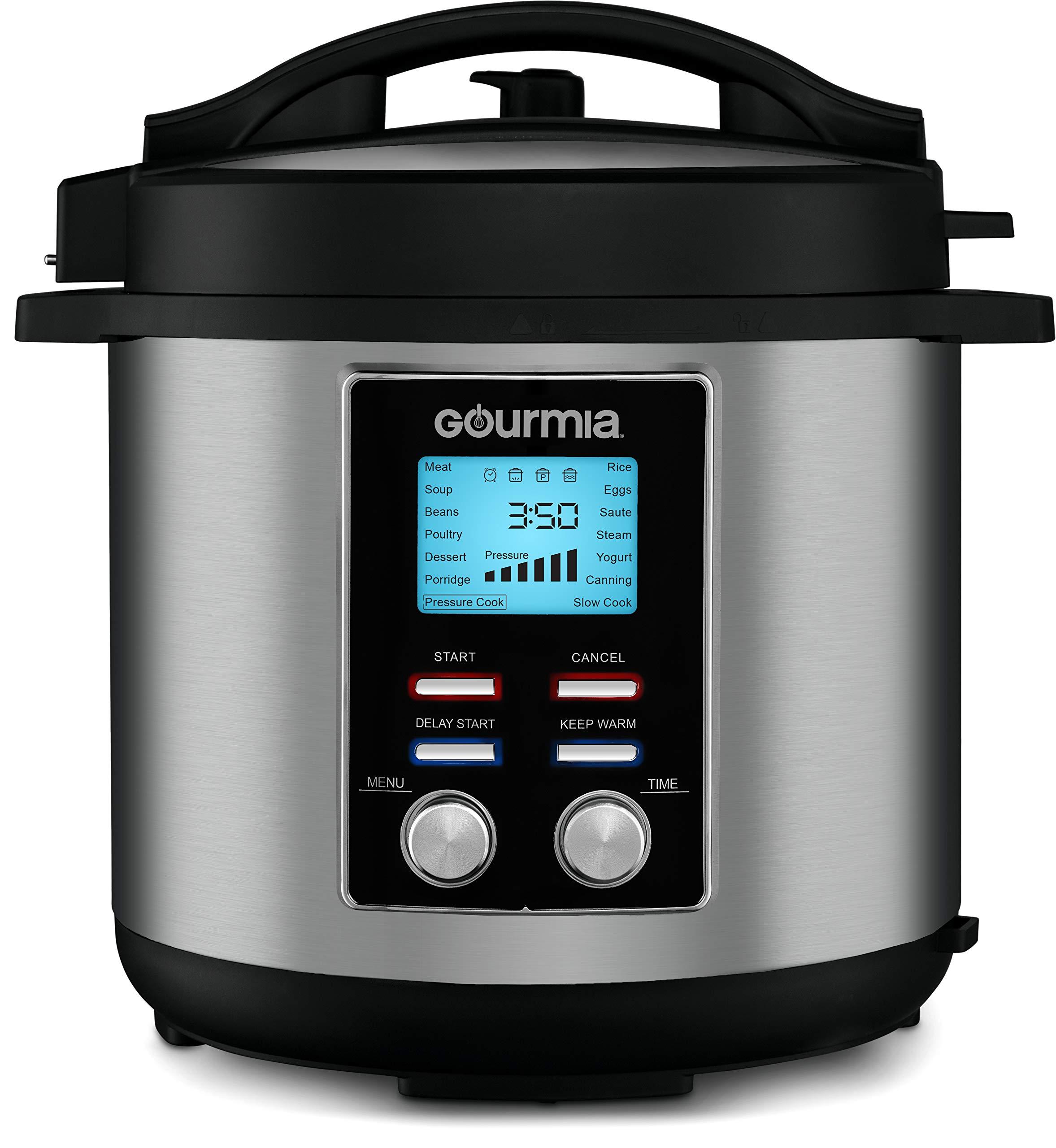 Gourmia GPC855 8 Qt Digital SmartPot Multi-Function Pressure Cooker | 15 Cook Modes | Removable Nonstick Pot | 24-Hour Delay Timer | Automatic Keep Warm | LCD Display | Pressure Sensor Lid Lock