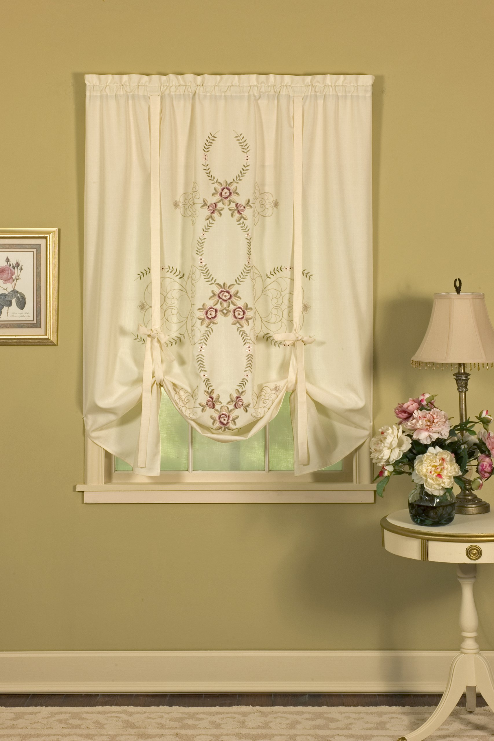 Today's Curtain Verona Reverse Embroidery Tie-Up Window Shade, 63-Inch, Ecru/Rose