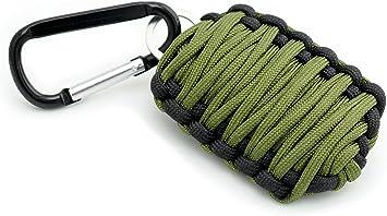 Llavero para Pescar Granada de Paracord Cuerda Paracord   Set de iniciación de Fuego, de línea de Pesca y Anzuelo en Verde y Negro de la Marca PRECORN