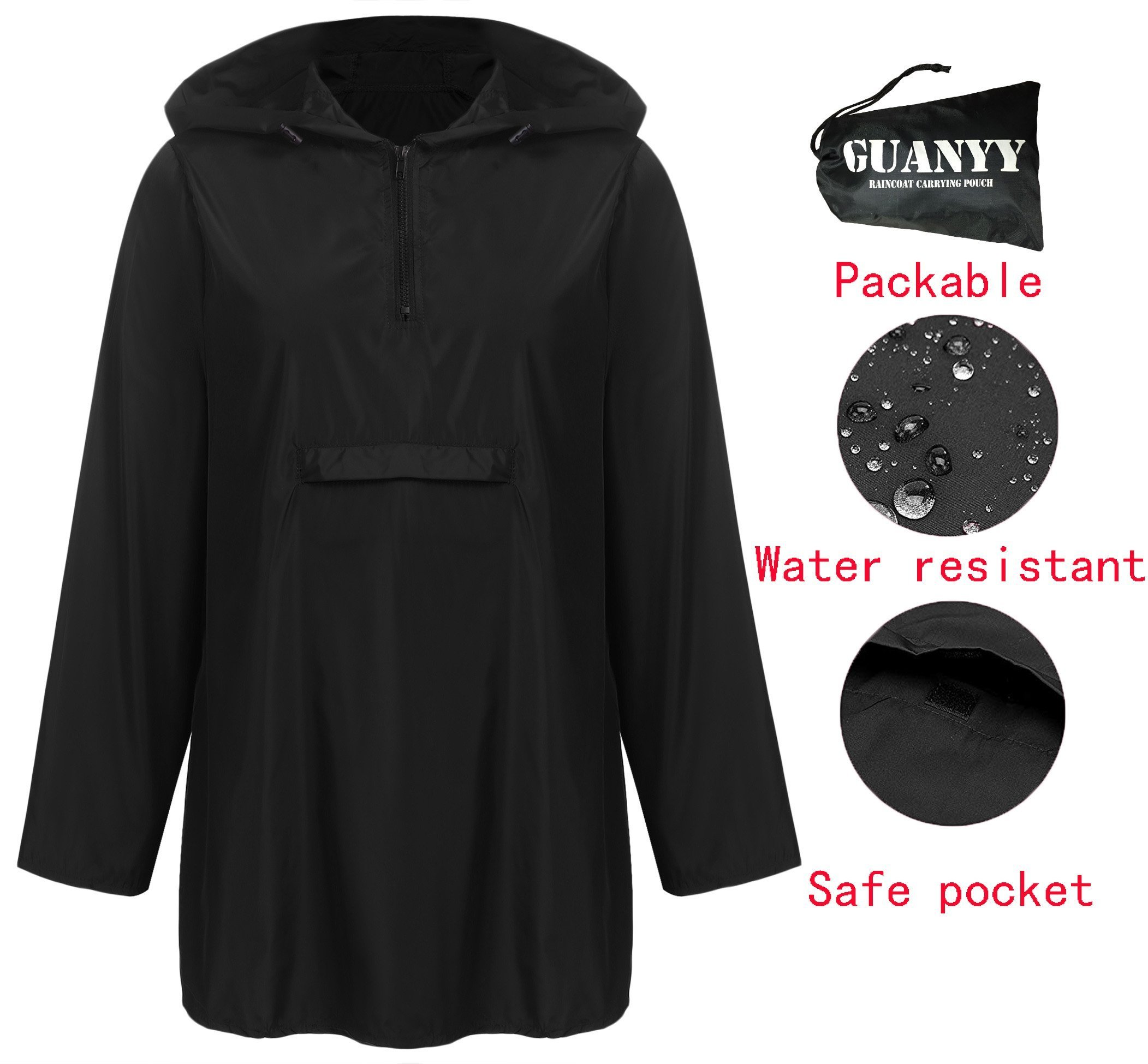 GUANYY Women's Waterproof Raincoat Outdoor Hooded Lightweight Windbreaker Jacket(Black,Large)