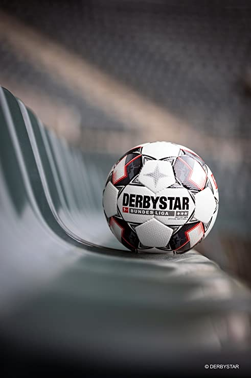 Derbystar Brilliant – Balón de fútbol, Color Blanco/Negro/Rojo, 5 ...