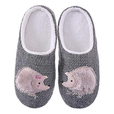 FANZERO Womens Cute Animal Hedgehog Slippers Soft Warm Fleece Non-Slip Home Winter Shoes   Slippers