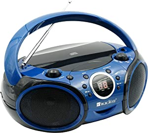 SINGING WOOD CD, CD-R/RW Boombox Portable/w Bluetooth Player AM/FM Radio Aux Input, Headset Jack, Foldable Carrying Handle (Starlight Blue)