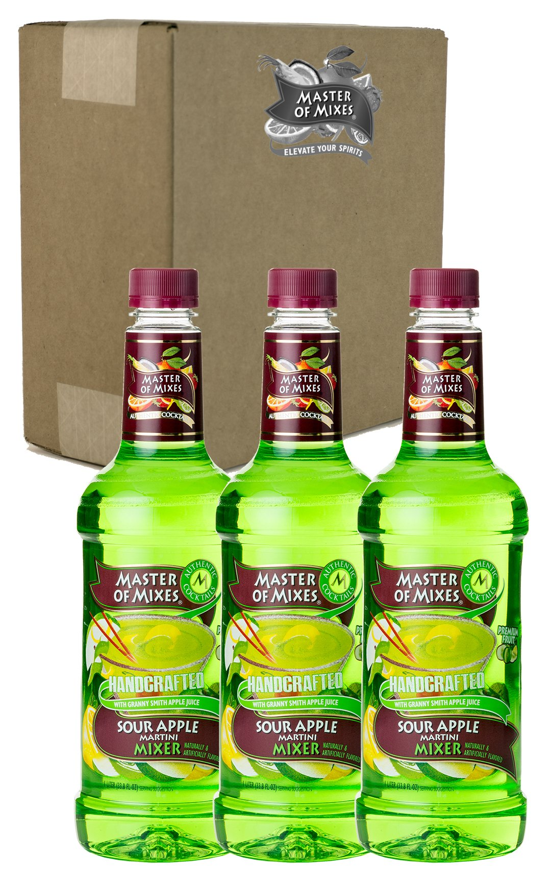 Master of Mixes Sour Apple Martini Drink Mix, Ready to Use, 1 Liter Bottle (33.8 Fl Oz), Pack of 3 by Master of Mixes