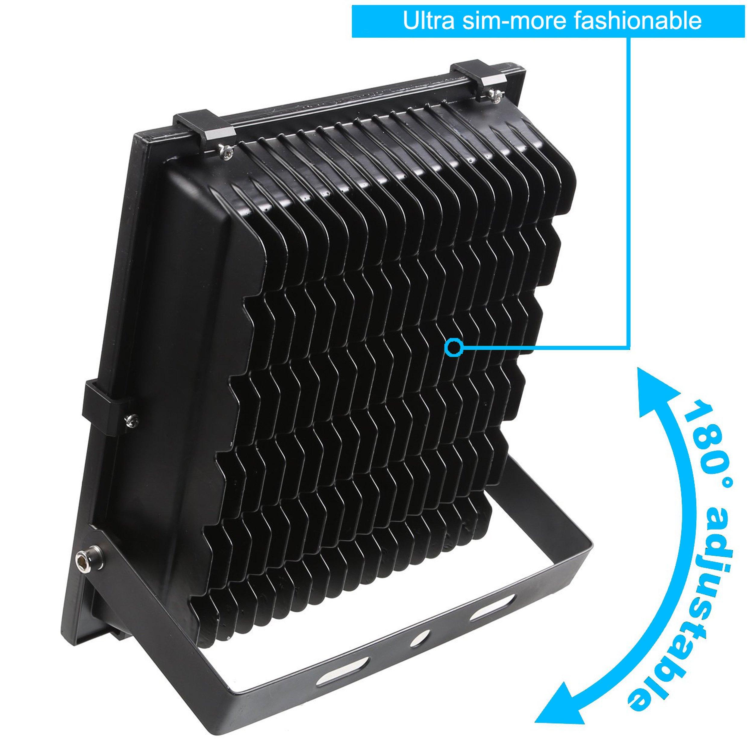 100 Watt Waterproof Spotlight LED 120 Volt 13000 Lumens 120 Degree Beam Angle 180 Degree Adjustable Angle 5500K Dayliht White Grow, 10.43 x 3.51 x 11.61 In (4 pack )