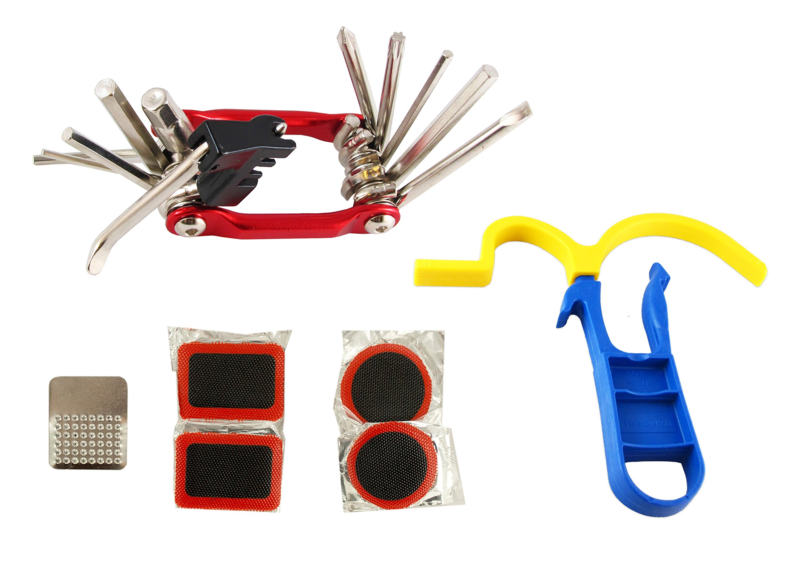 Bicycle Tire Repair Kit with TireSwitch, Portable Multi-tool and Patches - Easy, Quick and Without Puncture in the Tire Repairing Bike Set