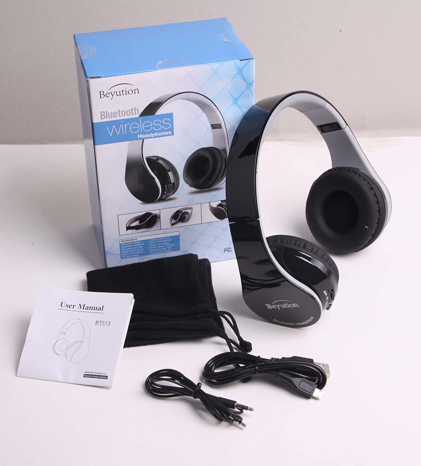 New Wireless Bluetooth Headphones Stereo Hi-Fi Bluetooth Headset with Built in Clearly Mic-Phone, Beyution Black 513