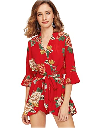 d446a0eb4d14 Amazon.com  Romwe Women s 3 4 Bell Sleeve Ruffle Hem Overall Flower Graphic  Print Floral Wrap Short Romper Jumpsuit  Clothing