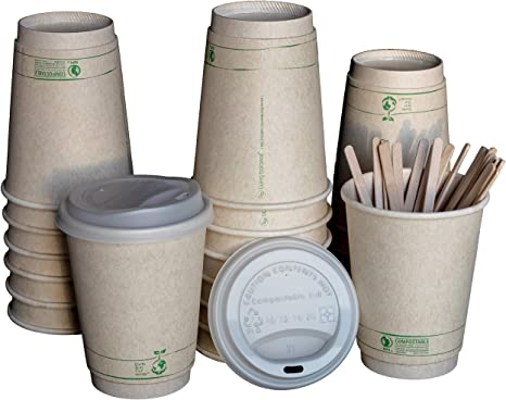 Amazon Com Disposable Compostable Coffee Cups With Cpla Lids Stirrers And Sleeves 12 Ounce 100 Pack Kitchen Dining