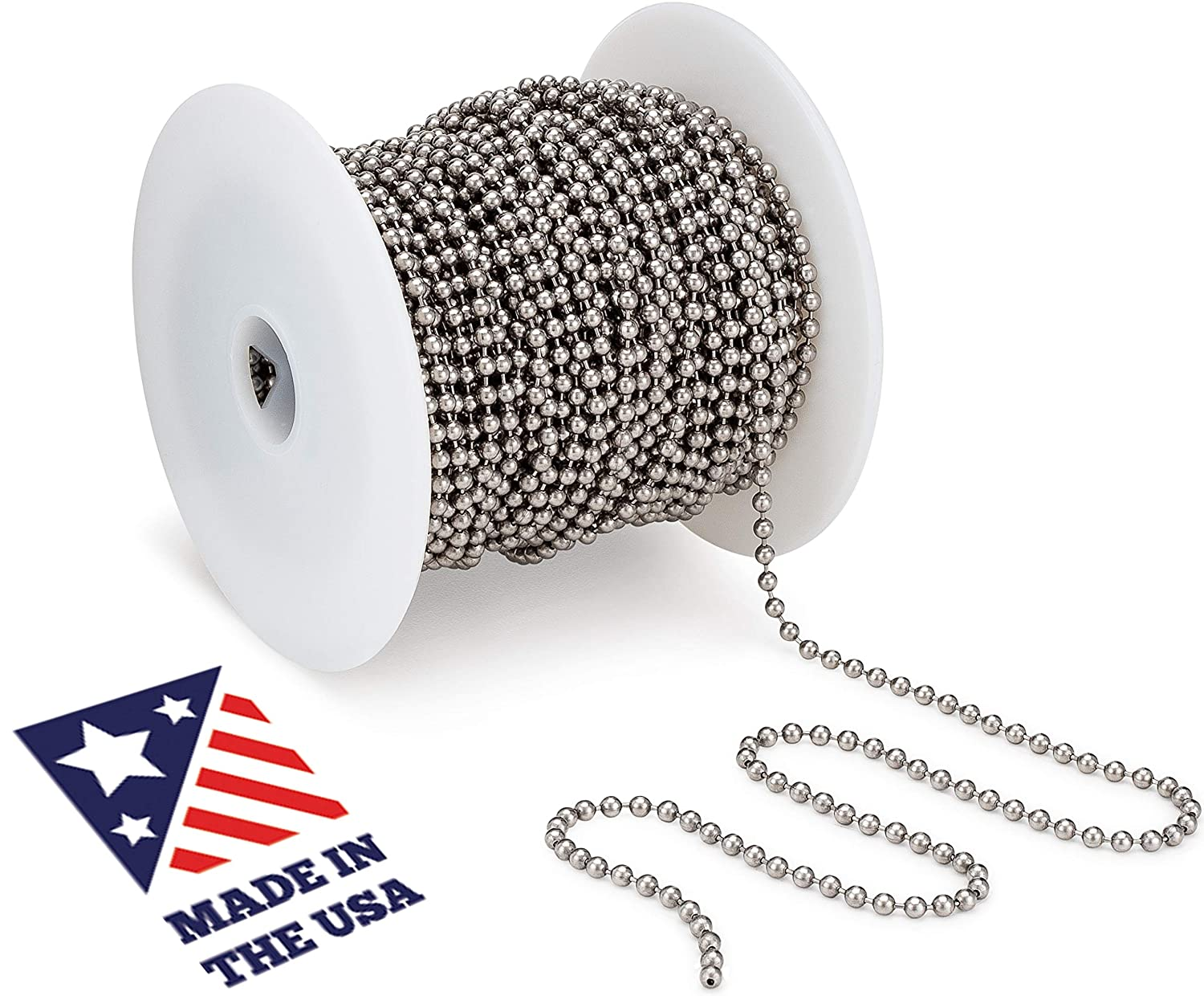 Commercial Retaining Applications and Vertical Blinds Stainless Steel 100 Feet Spool for Plumbing and Industrial Equipment Labeling Beaded Ball #6 Chain