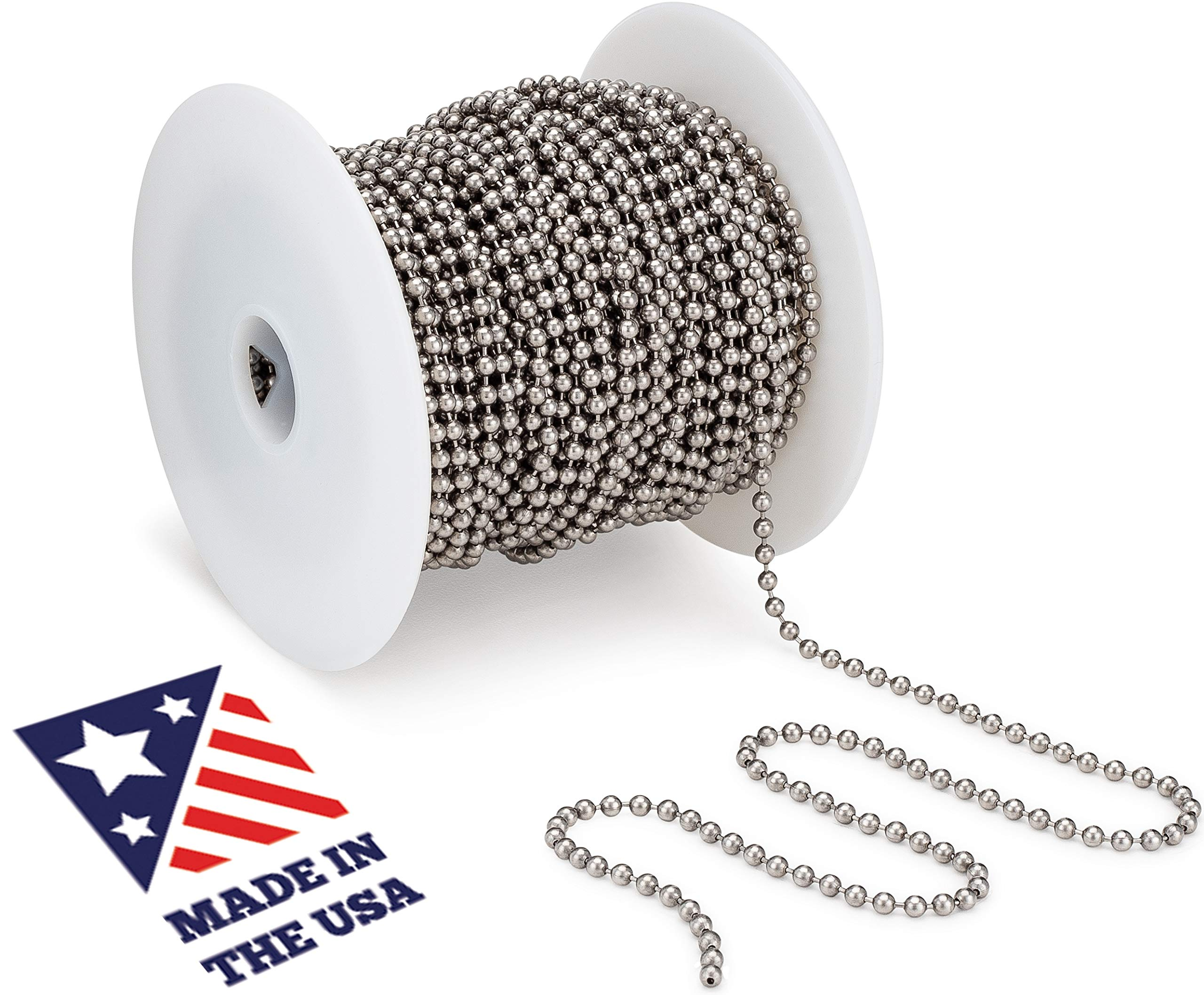 Beaded Ball #6 Chain - Stainless Steel 100 Feet Spool for Plumbing and Industrial Equipment Labeling, Commercial Retaining Applications and Vertical Blinds by WAXAW