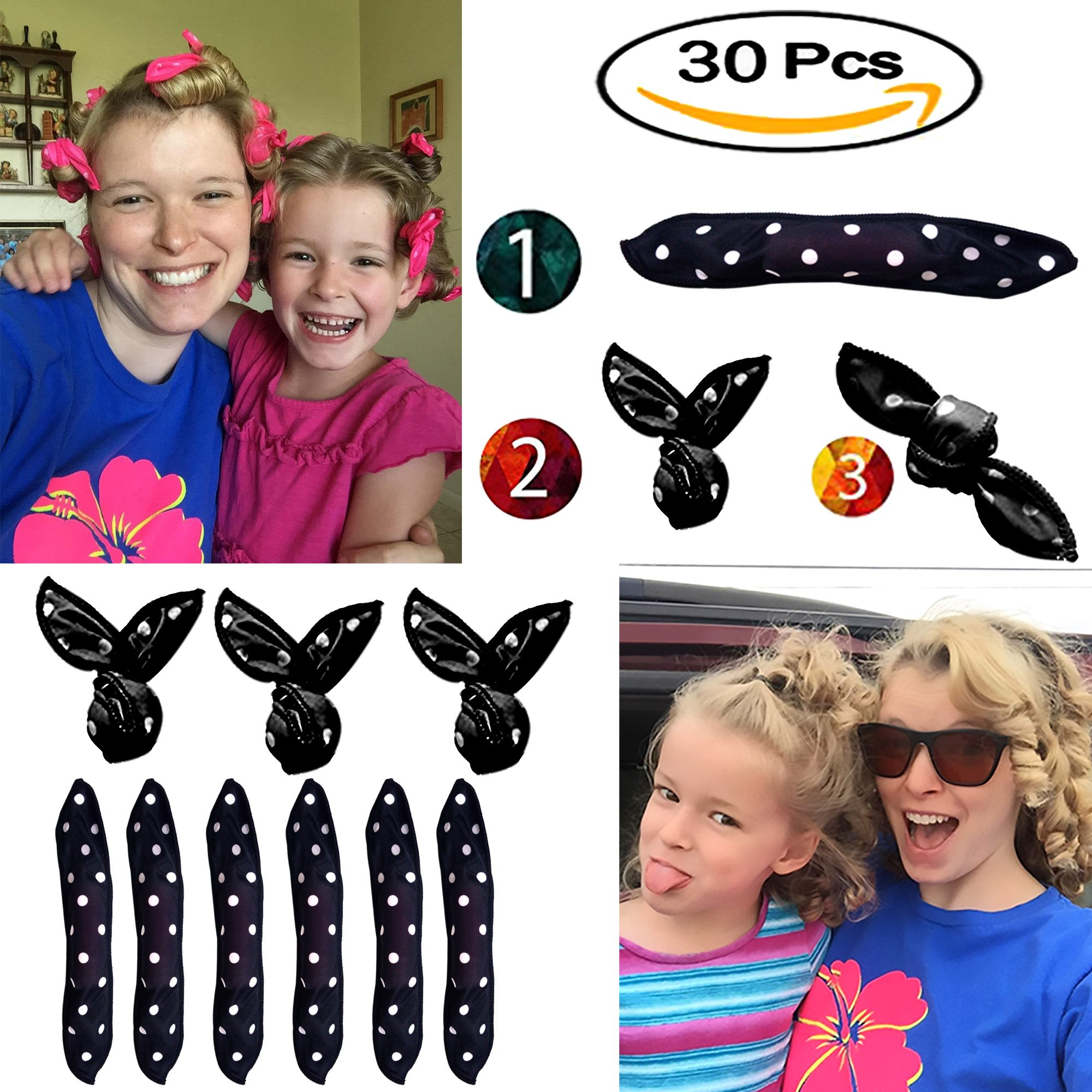 Hair Curlers, Sleep Curlers SXG 30 PCS No Heat Foam Rollers for Long Short Hair, Pillow Hair Rollers Curlers for Women&Girls- Black
