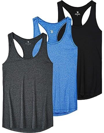 MoFiz Womens Yoga Racerback Tank Top Activewear Running Workout Gym Sleeveless Shirt 3 Pack