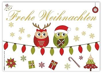 Weihnachtsgrüße Postkarte.12 Weihnachtskarten Frohe Weihnachten Mit Fröhlichen Süßen Eulen Din A6 Postkarten Für Ihre Weihnachtsgrüße Geschenkanhänger
