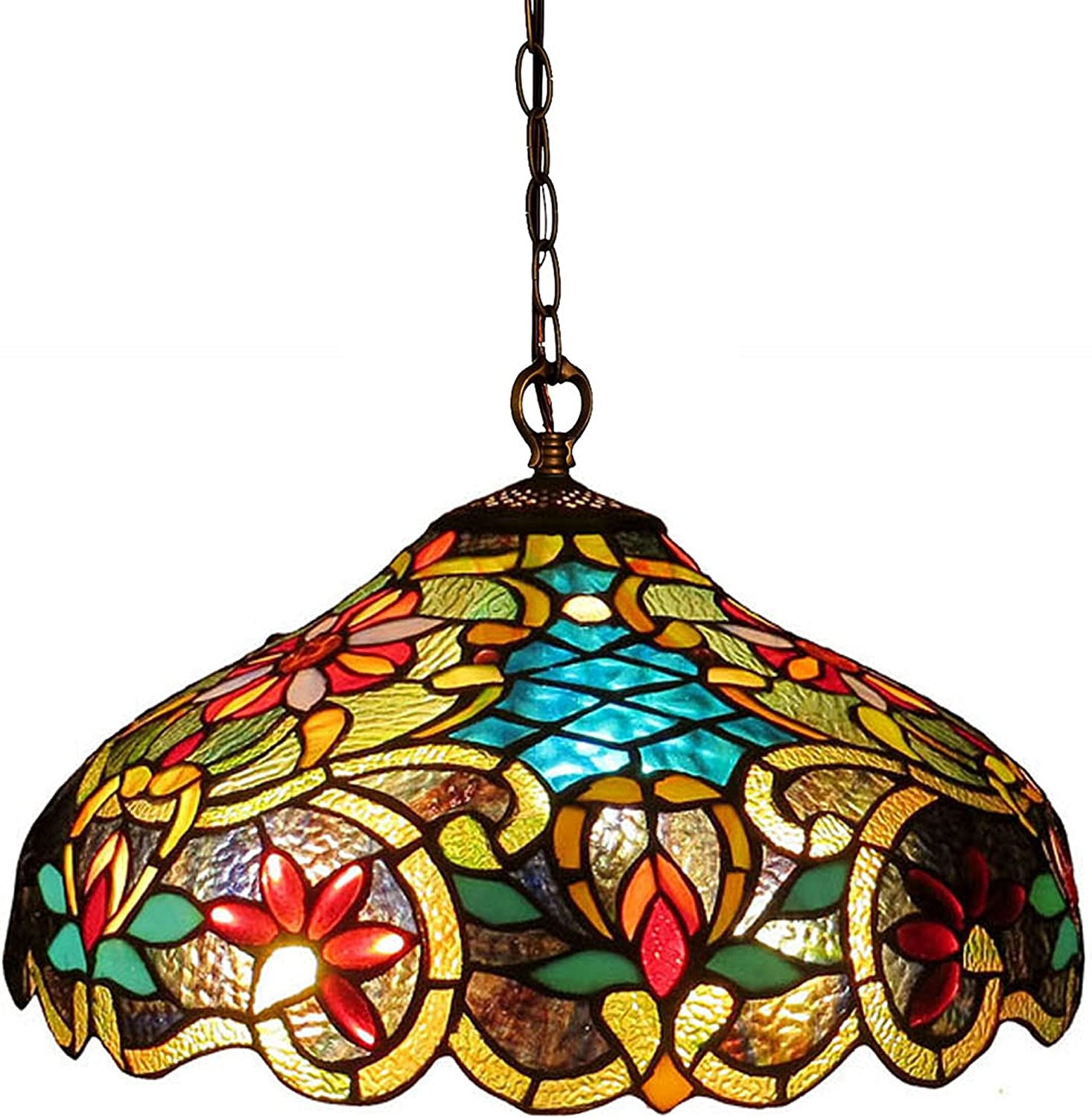 Chloe Lighting CH1A674VB18-DH2 Leslie Tiffany-Style Victorian 2-Light Ceiling Pendant Fixture, 12 x 18 x 18 , Multicolor