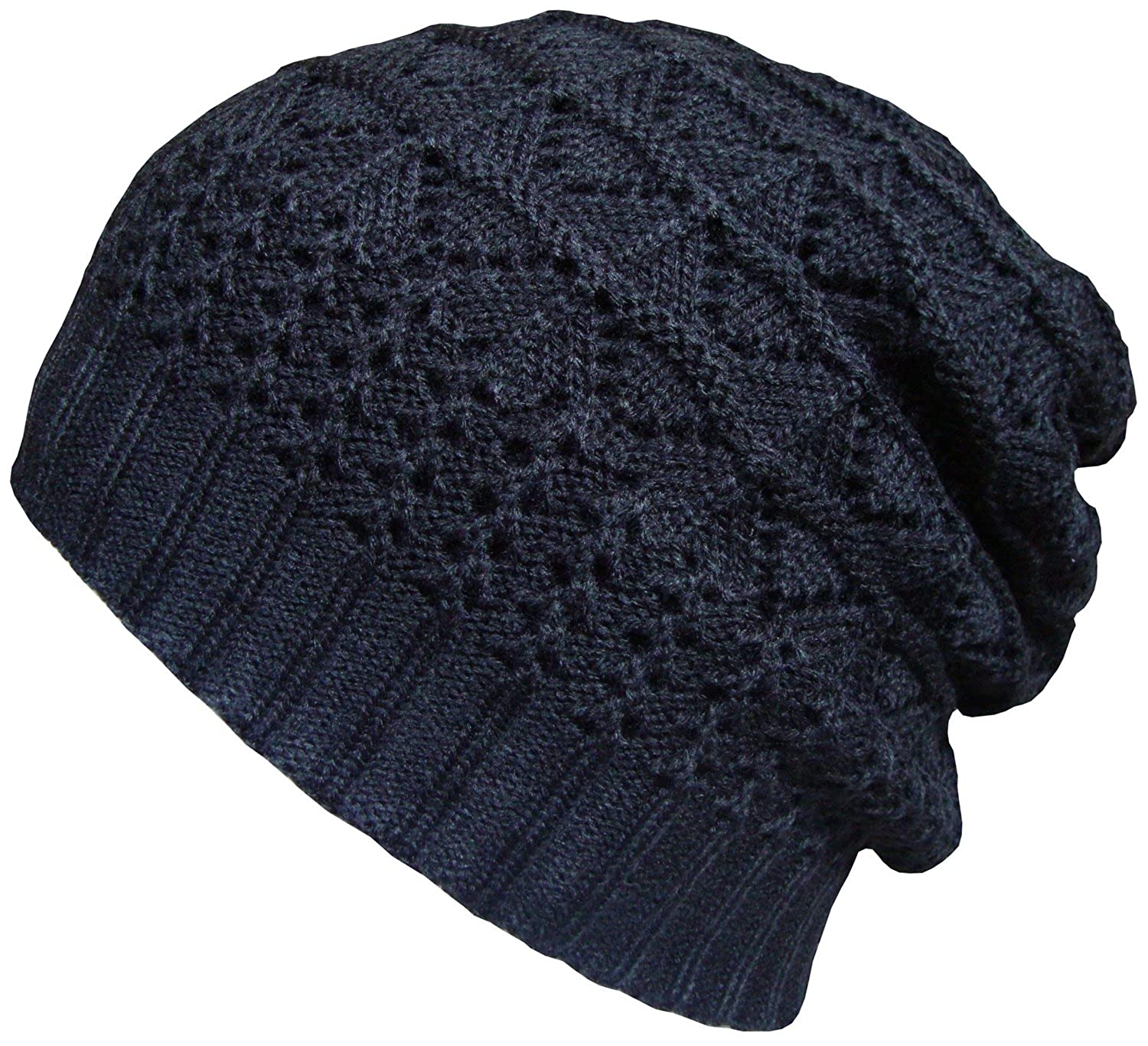 6168ee489509 Mens Womens Beanie Hat Oversize Knitted Patterned Slouch Beanies Black Wool  Cap: Amazon.co.uk: Clothing