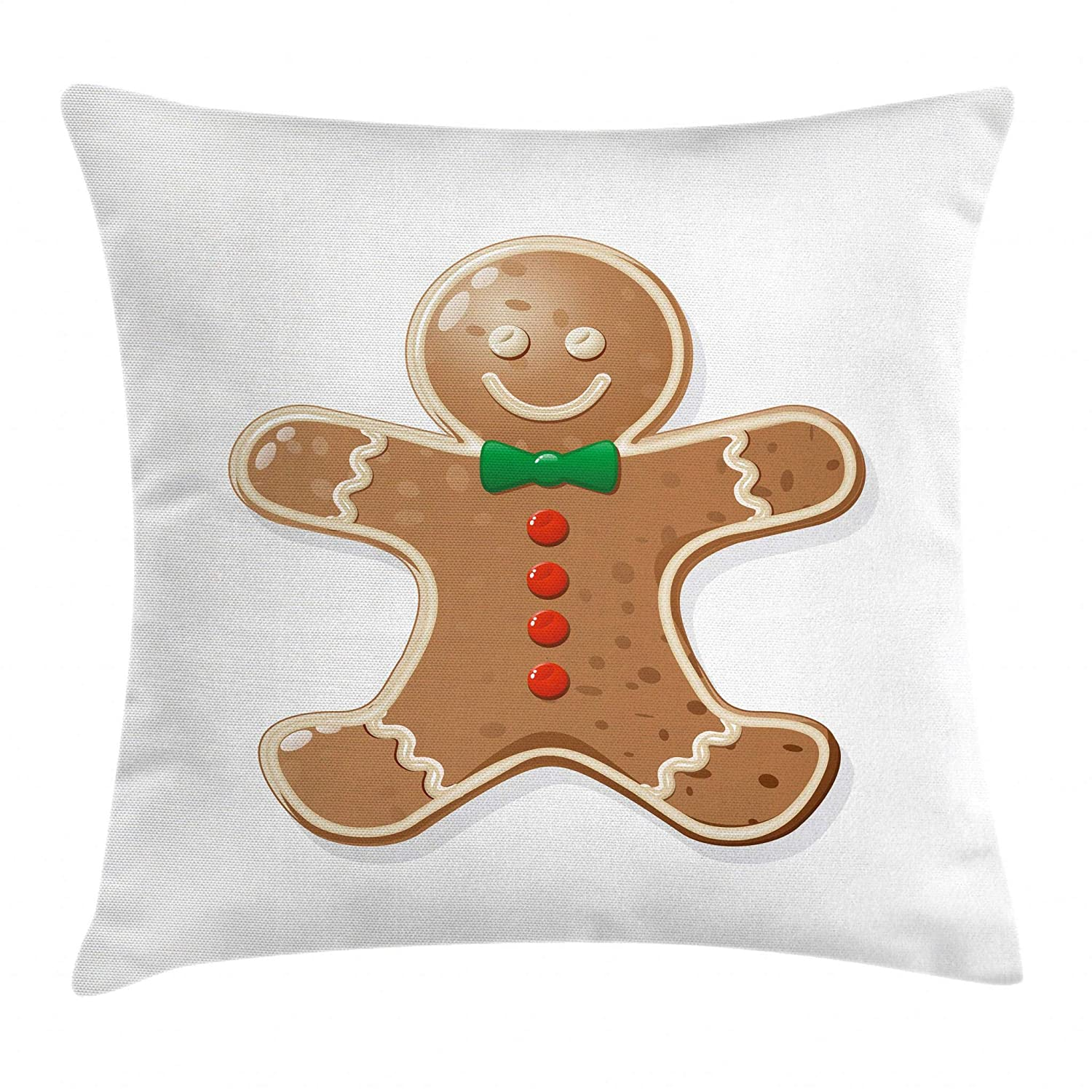 Ambesonne Gingerbread Man Throw Pillow Cushion Cover, Iconic Seasonal Baked Pastry Sugary Treats for Kids Joyous Fun Xmas, Decorative Square Accent Pillow Case, 16 X 16 Inches, Caramel Red Green min_38350_16X16