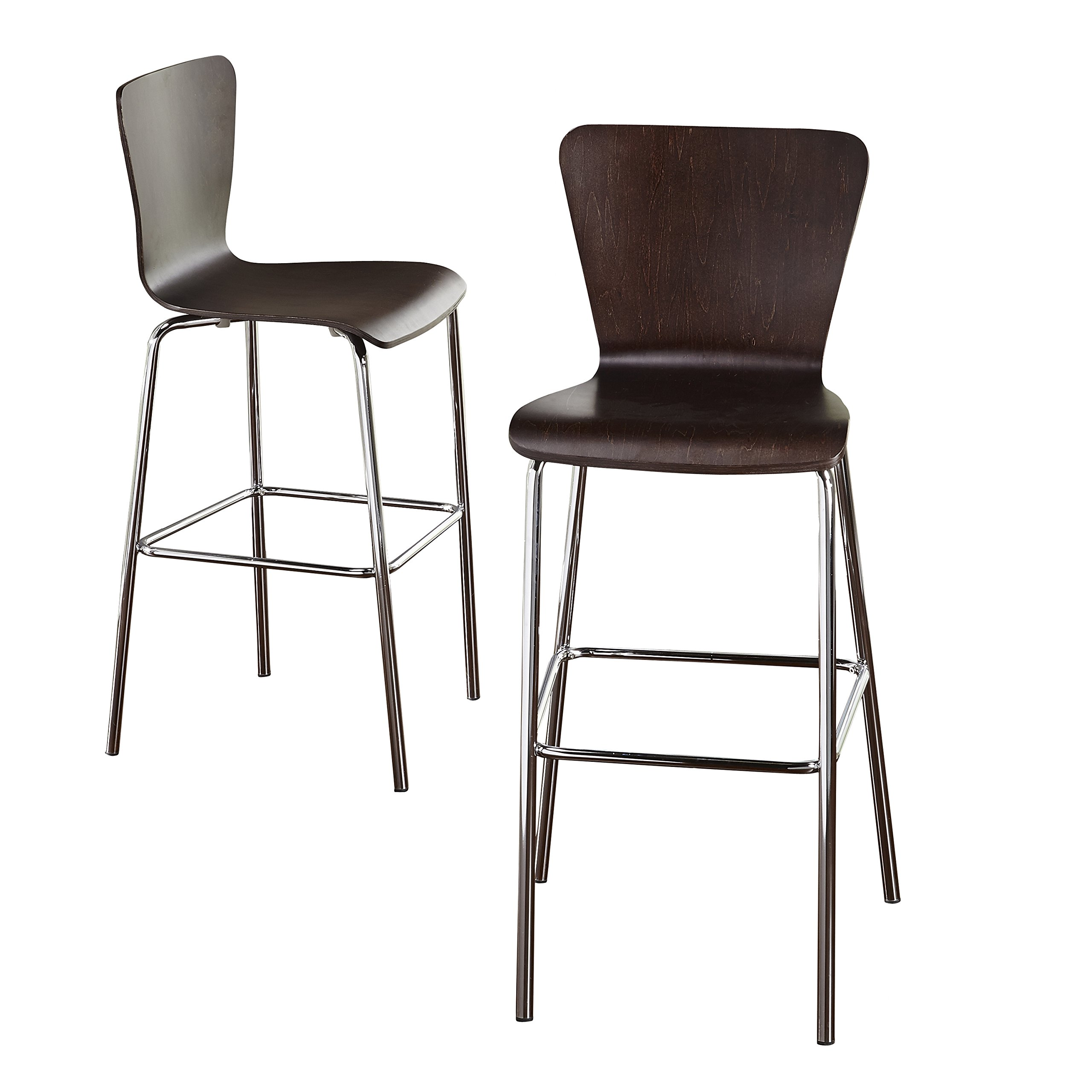 Target Marketing Systems Pisa Collection Modern Armless Counter Stools with Chrome Plated Legs and Concave Back Design, Set of 2, 30'', Espresso/Silver by Target Marketing Systems