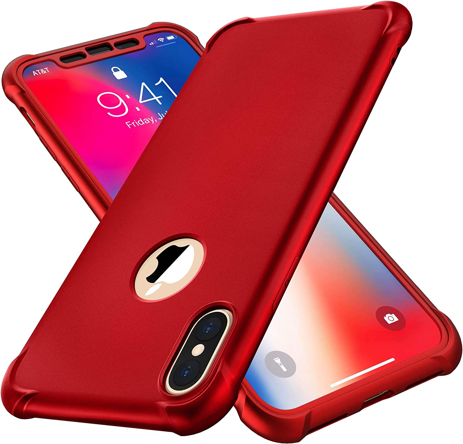 iPhone X Case, iPhone Xs Case, with[2 x Tempered Glass Screen Protector] ORETech 360° Full Body Shockproof Protection Cover Hard PC Soft Rubber Silicone Case for iPhone X/XS- Red