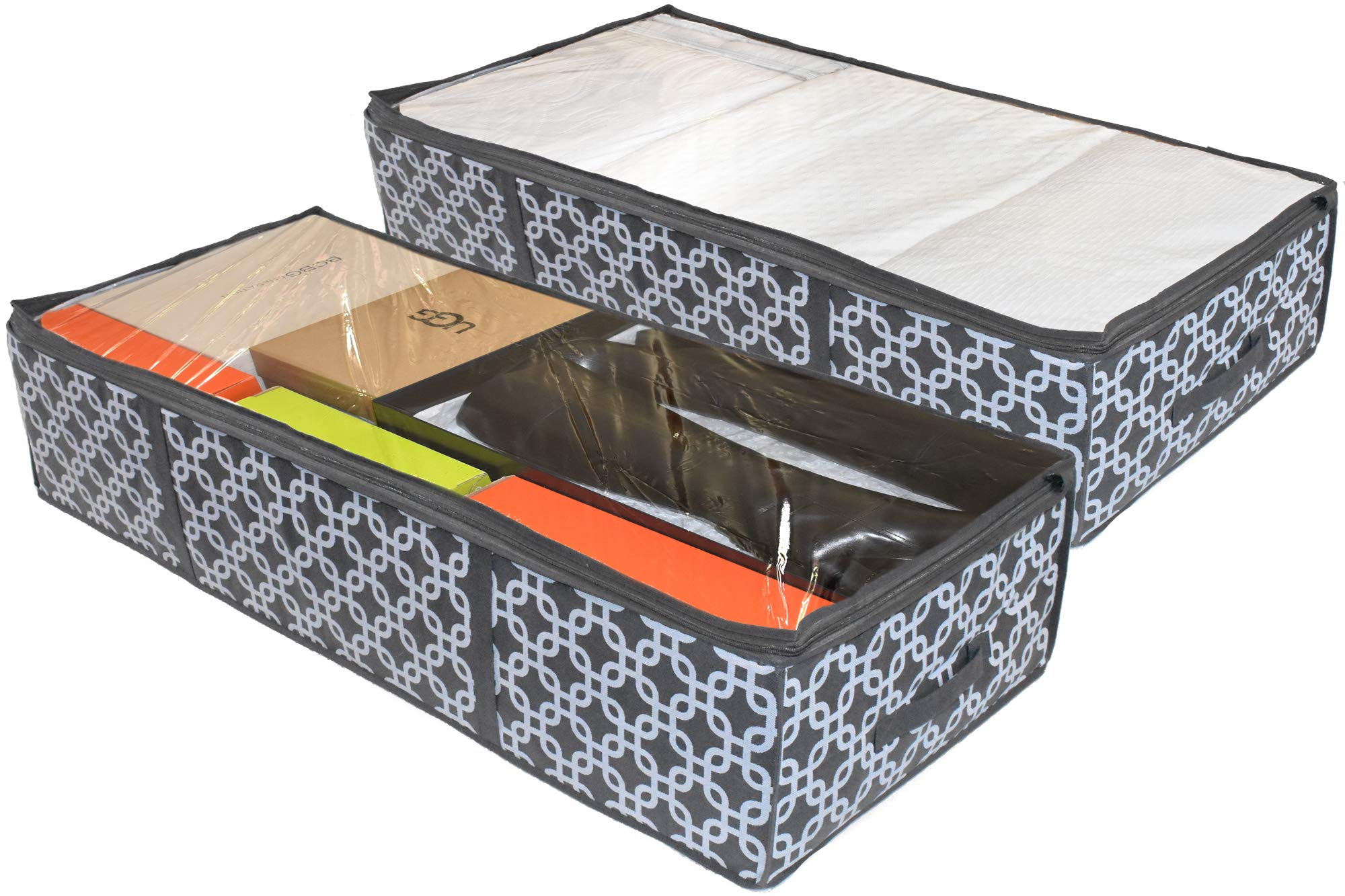 COMPONO 2 Pack Under Bed Storage Containers for Under The Bed Storage with Large Clear Window & Carry Handles. Creates Storage Under Bed Organizer for Any Household Items (Pattern, Underbed Storage) by COMPONO
