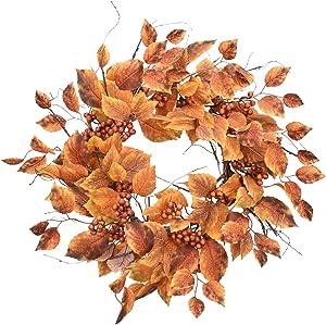 Cloris Art Artificial Fall Wreath Boston Ivy/Berry - 22-24 Inch Yellow Rustic Wreaths for Thanksgiving Farmhouse Wall Decor