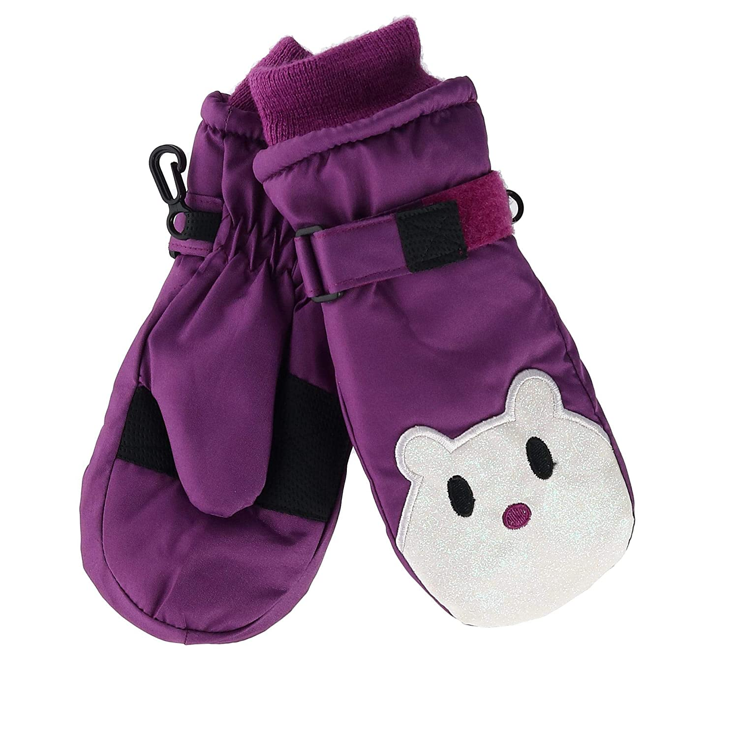 Grand Sierra Toddler Girl's 2-4 Sparkle Face Ski Mitten Purple