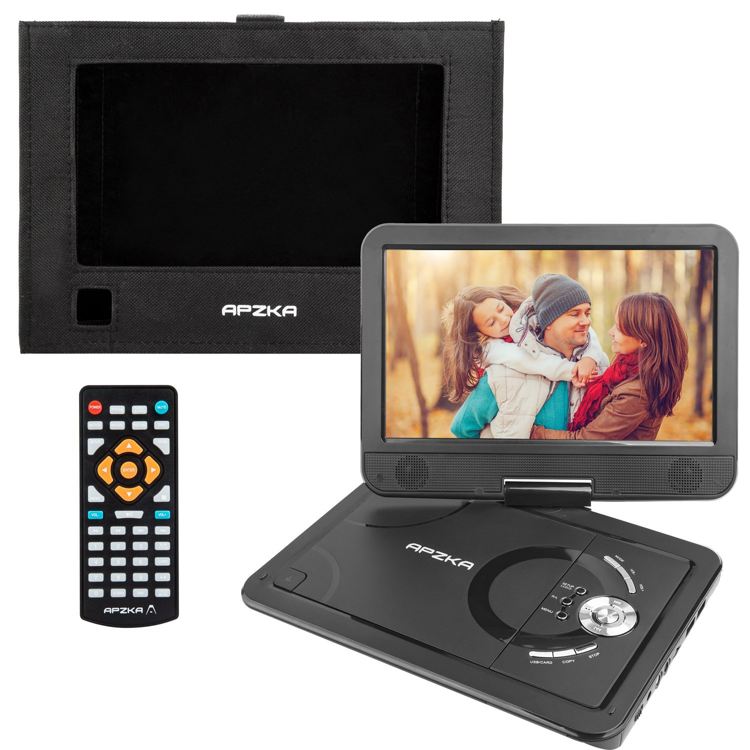 Apzka 5 Hours 10.5 Inch Portable DVD Player with Built-in Lithium Battery, 1.8M Power Adapter and Car Charger, USB Port and SD Card. 1080P Video Supported, Black