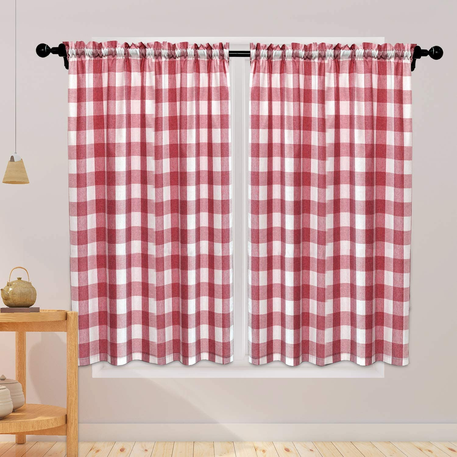NATUS WEAVER Buffalo Check Curtains 45 inches Long Cotton Basement Red and White Gingham Plaid Kitchen Window Curtain Panels Living Room Checker Drapes Bedroom Rod Pocket Window Treatment 2 Panels
