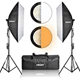 "Emart Photography Softbox Lighting Kit, Photo Equipment Studio Softbox 20"" x 27"", 45W Dimmable LED with Double Color Temperature for Portrait Video and Shooting"