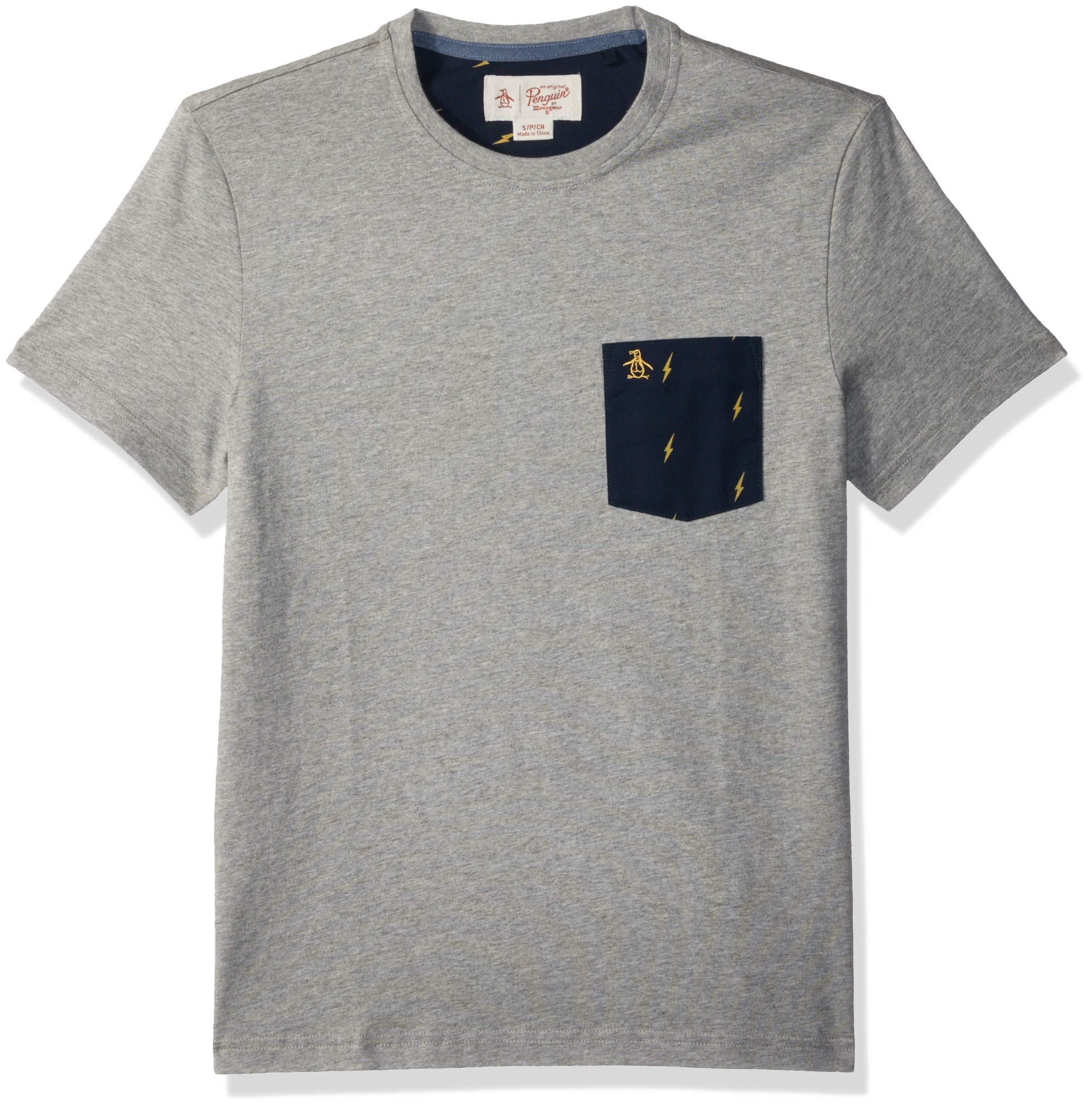 Original Penguin Men's Short Sleeve Lightening Pocket Tee, rain Heather, Medium