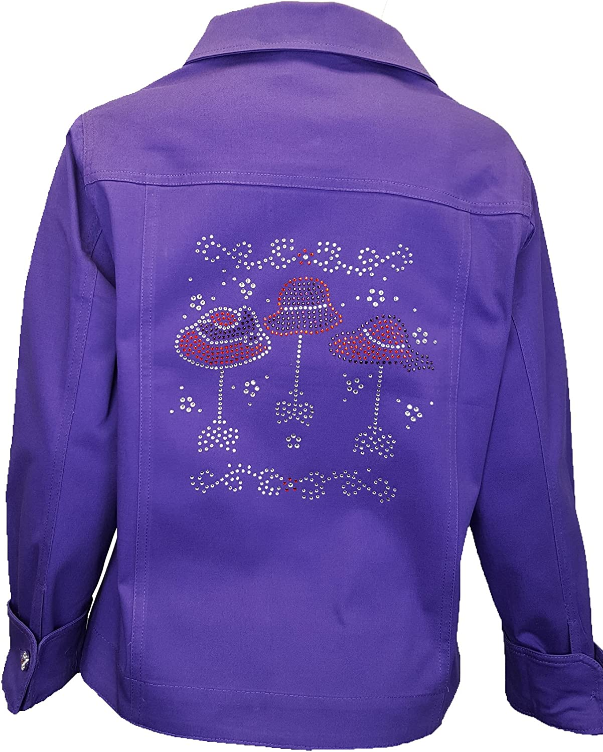 Purple Red Hat Society Womens Bling Rhinestone Jacket with Stretch