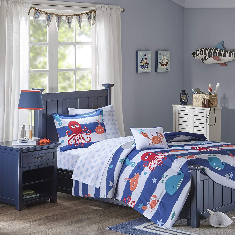 Mi Zone Kids Sealife Twin Kids Bedding Sets for Boys - Blue, Octopus – 6 Pieces Boy Comforter Set – Ultra Soft Microfiber Kid Childrens Bedroom Comforters