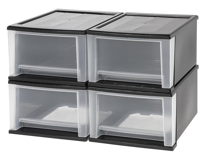 IRIS 17 Quart Stacking Drawer, 4 Pack, Black